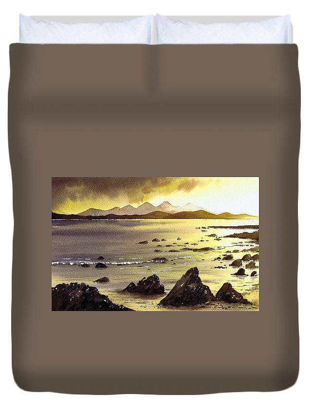 Gigha Duvet Cover featuring the painting Across To Gigha And Jura by Paul Dene Marlor