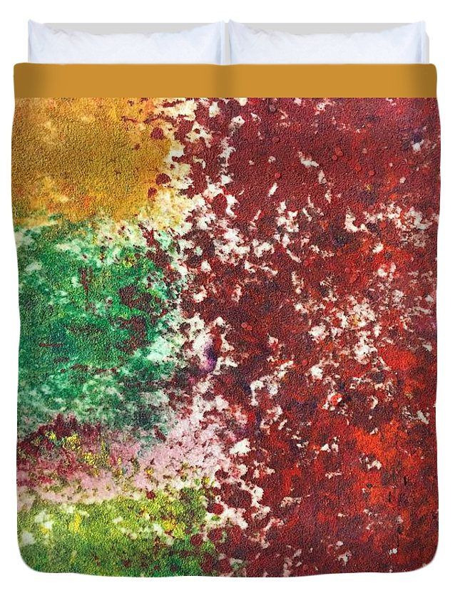 Acrylic Abstract Painting On Suede Duvet Cover featuring the painting Acrylic Abstract 15-x.x.xx by Virginia Margarita