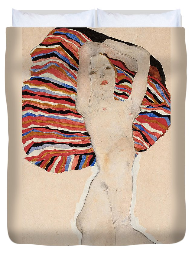 Egon Duvet Cover featuring the painting Act Against Colored Material by Egon Schiele