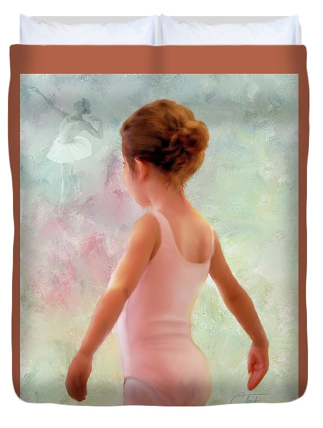 Ballerina Duvet Cover featuring the mixed media Adagio by Colleen Taylor