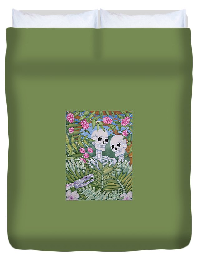 Calavera Duvet Cover featuring the painting Adam And Eve by Jeniffer Stapher-Thomas