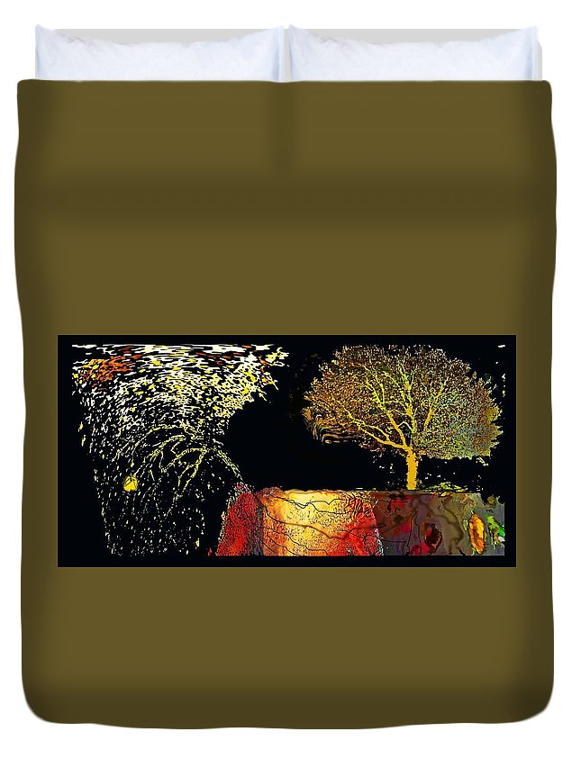 Landscape Duvet Cover featuring the tapestry - textile Adam And Eve Were Here. by Pat Szalay