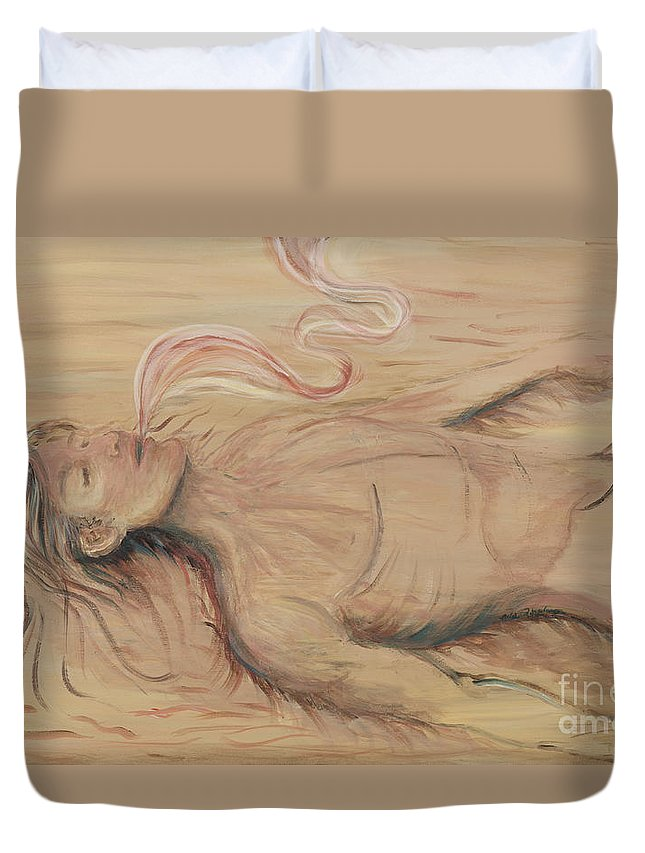 Adam Duvet Cover featuring the painting Adam And The Breath Of God by Nadine Rippelmeyer