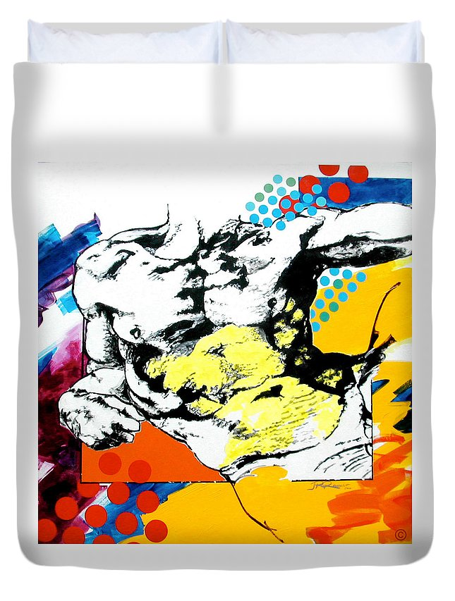Pop Duvet Cover featuring the painting Adam by Jean Pierre Rousselet