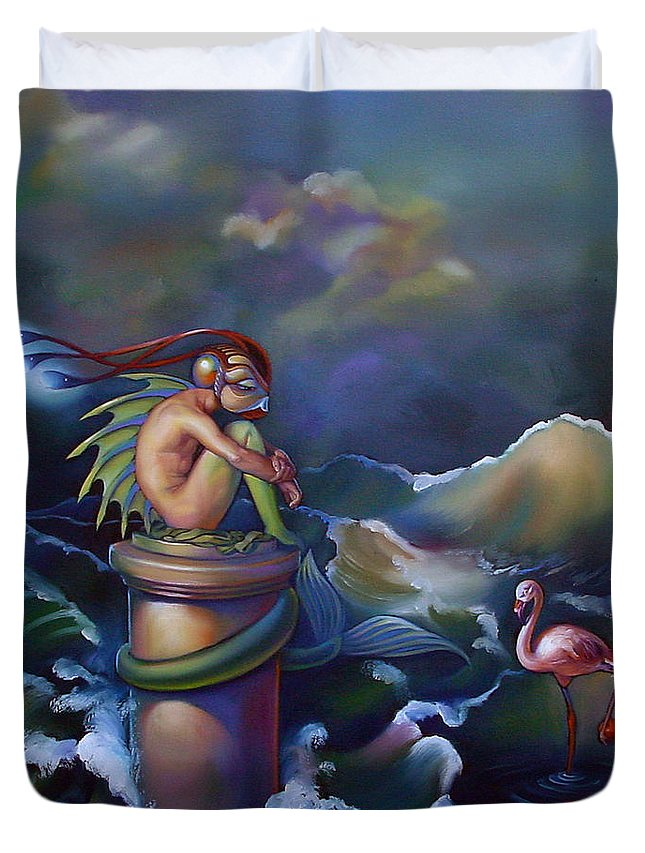 Merman Duvet Cover featuring the painting Adam by Patrick Anthony Pierson