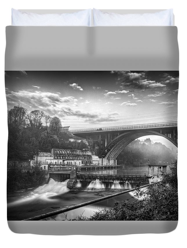 Buildings Duvet Cover featuring the photograph Adda Dam by Walter Riboldi