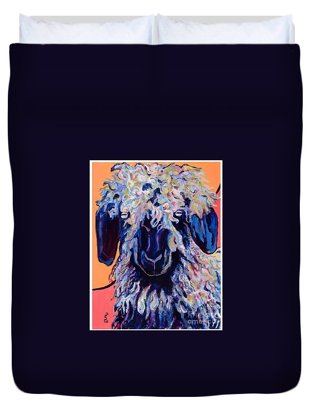 Goat Print Duvet Cover featuring the painting Adelita  by Pat Saunders-White