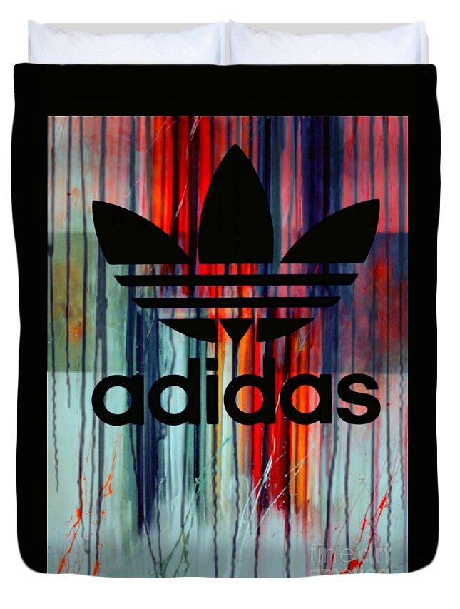 Adidas Duvet Cover featuring the painting Adidas Plakative - Typografie by Felix Von Altersheim