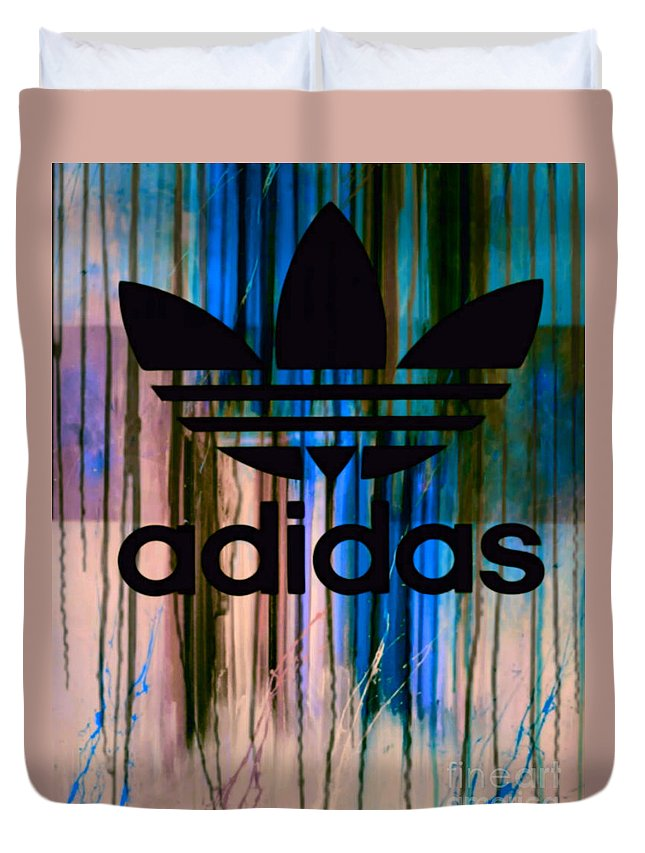 Adidas Duvet Cover featuring the painting Adidas Plakative - Typografie 01 by Felix Von Altersheim
