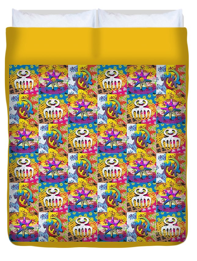 Adinkras Duvet Cover featuring the digital art Adinkra Quilt 1 by Walter Oliver Neal