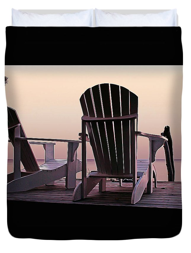 Landscape Duvet Cover featuring the painting Adirondack Chairs Dockside At Lavender Haze Twilight by Elaine Plesser