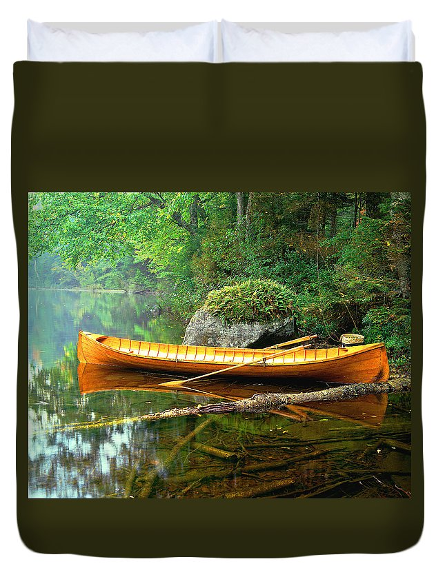 Adirondacks-boat-landscape-lake Duvet Cover featuring the photograph Adirondack Guideboat by Frank Houck
