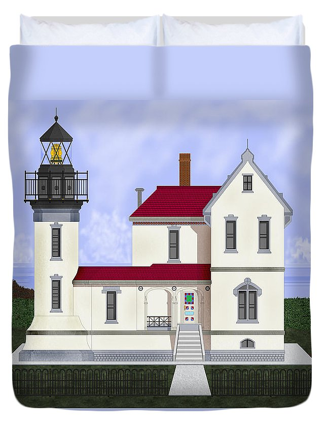Admiralty Head Duvet Cover featuring the painting Admiralty Head Light Station Circa 1920 by Anne Norskog