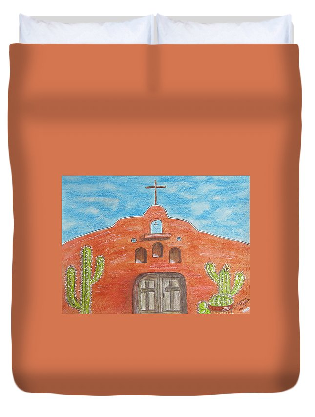 Adobe Duvet Cover featuring the painting Adobe Church And Cactus by Kathy Marrs Chandler
