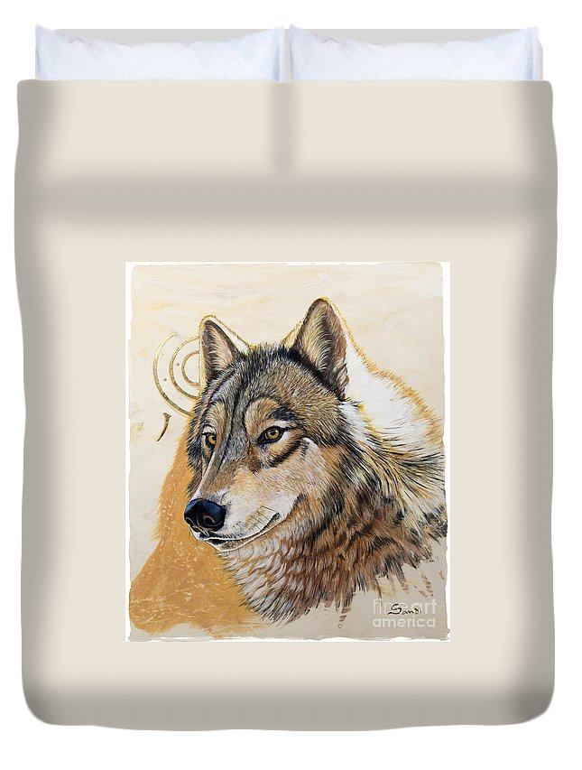 Acrylics Duvet Cover featuring the painting Adobe Gold by Sandi Baker