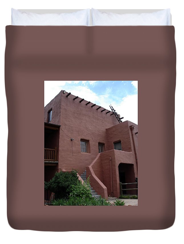 Santa Fe Duvet Cover featuring the photograph Adobe House At Red Rocks Colorado by Merja Waters