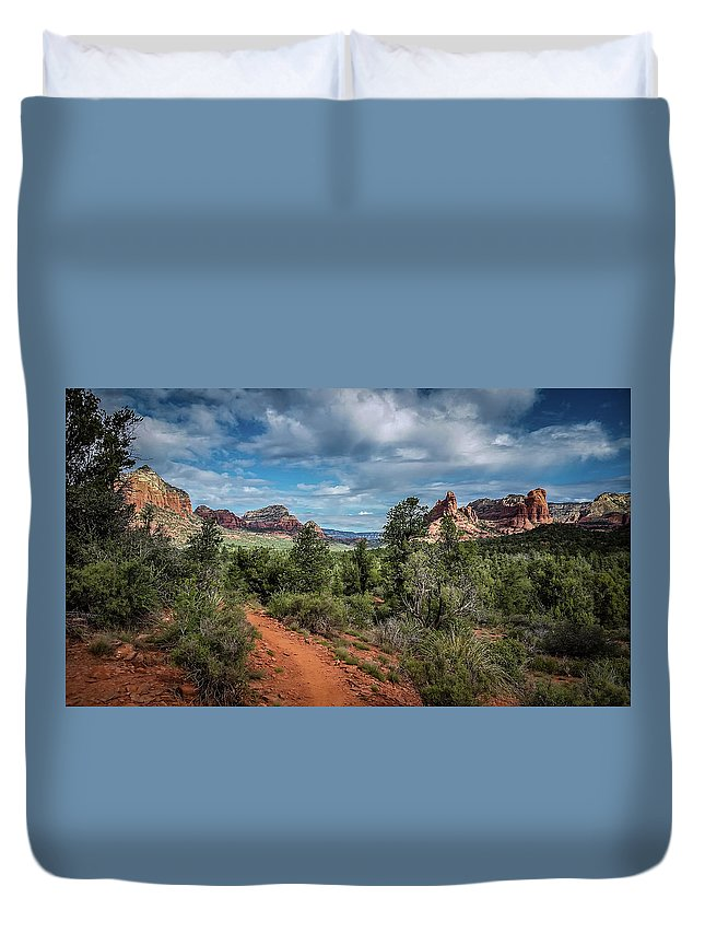 Landscape Duvet Cover featuring the photograph Adobe Jack Trail by Terry Ann Morris