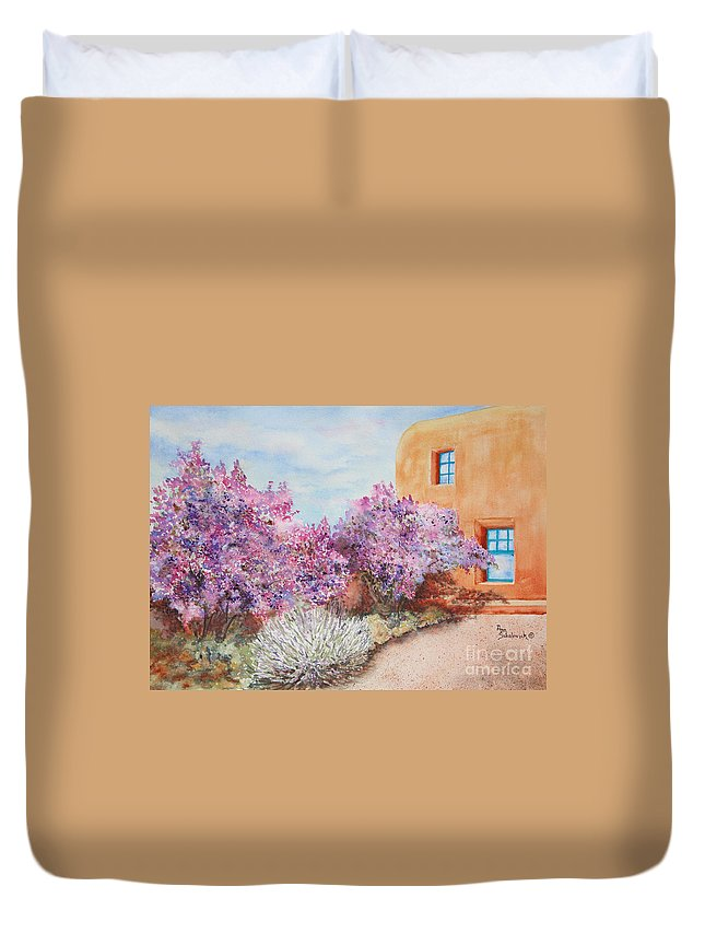 Sokolovich Duvet Cover featuring the painting Adobe Lilacs by Ann Sokolovich