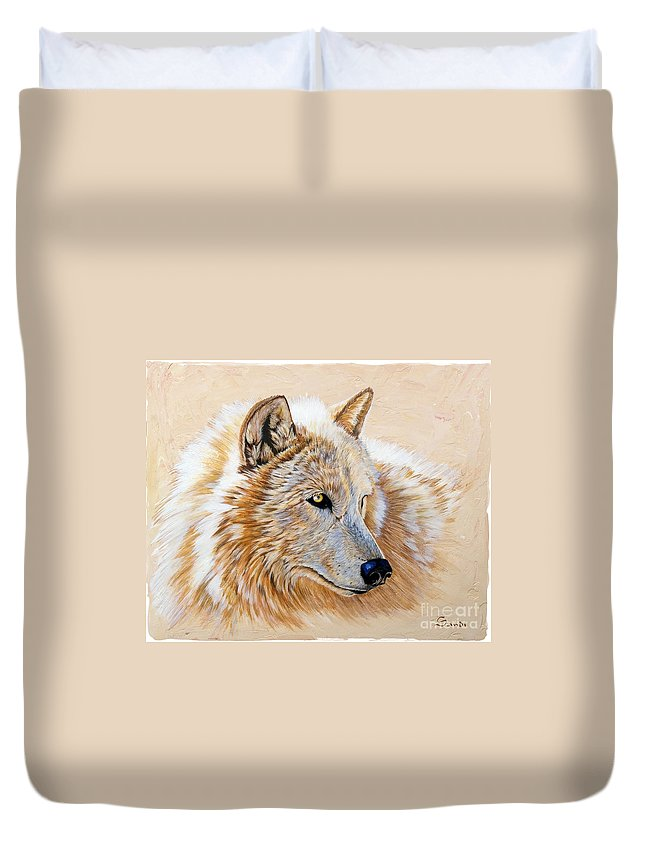 Acrylic Duvet Cover featuring the painting Adobe White by Sandi Baker