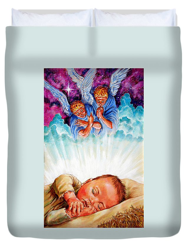 Baby Jesus Duvet Cover featuring the painting Adore Your Saviour by John Lautermilch