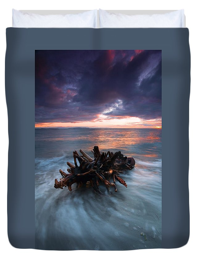 Stump Duvet Cover featuring the photograph Adrift by Mike Dawson
