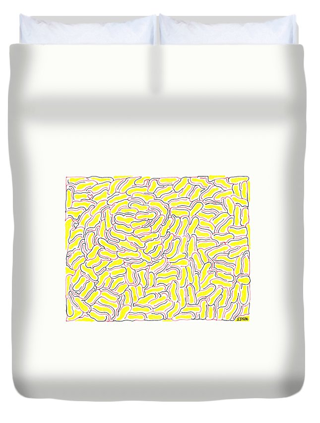 Mazes Duvet Cover featuring the drawing Adrift by Steven Natanson