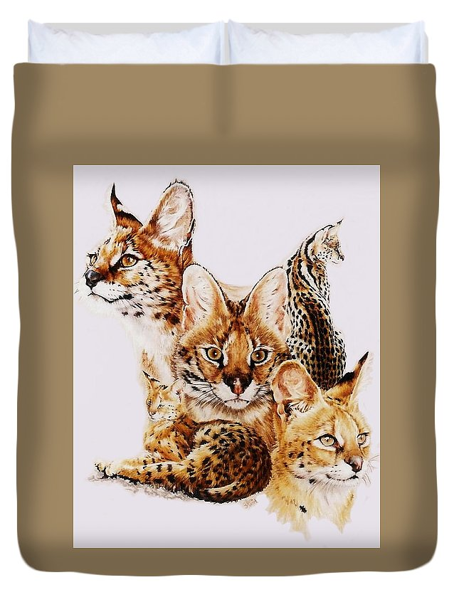 Serval Duvet Cover featuring the drawing Adroit by Barbara Keith