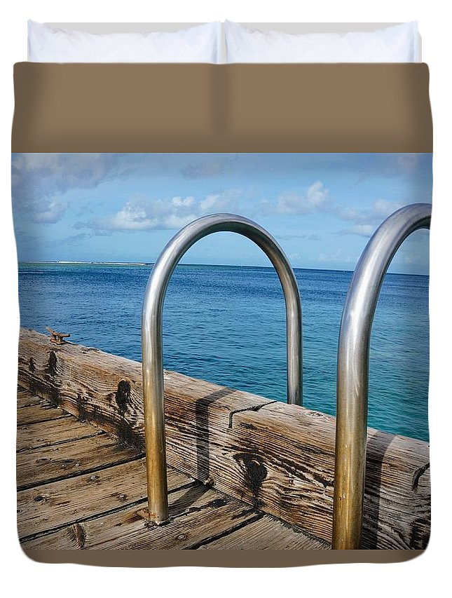 Railing Duvet Cover featuring the photograph Adventure Into The Blue by Jade Phoenix