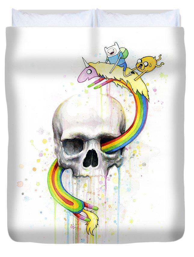 Adventure Duvet Cover featuring the painting Adventure Time Skull Jake Finn Lady Rainicorn Watercolor by Olga Shvartsur