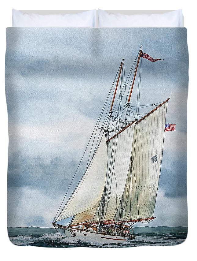 Sailing Vessel Adventuress Duvet Cover featuring the painting Adventuress by James Williamson