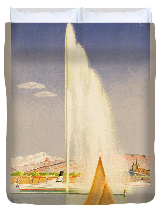 Advertisement For Travel To Geneva Duvet Cover featuring the painting Advertisement for travel to Geneva by Fehr
