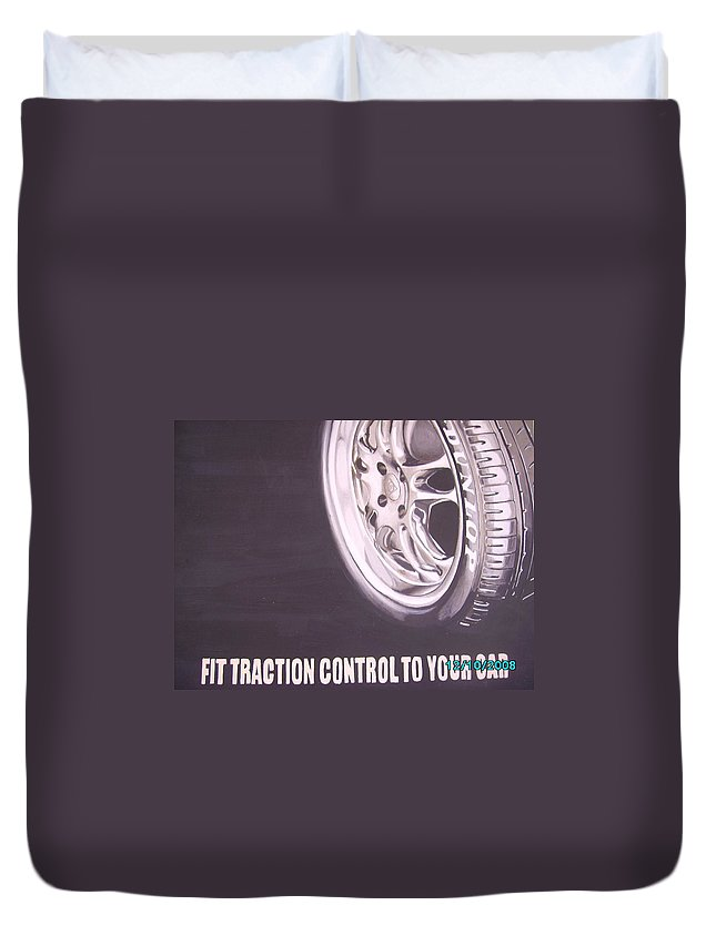 Wheel Duvet Cover featuring the digital art Adverts On Tyres by Olaoluwa Smith