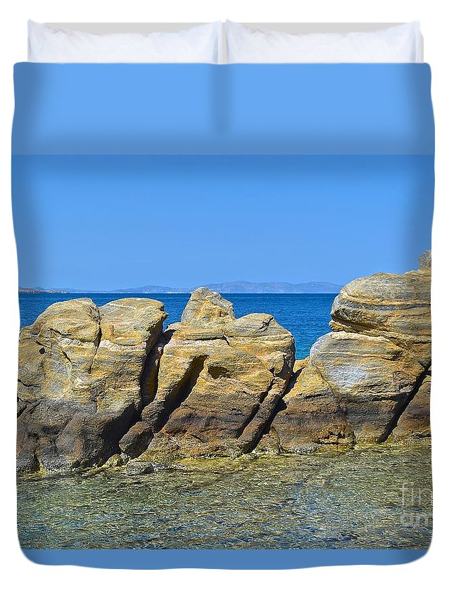 Stone Duvet Cover featuring the photograph Aegean Rocks by Eric Reger