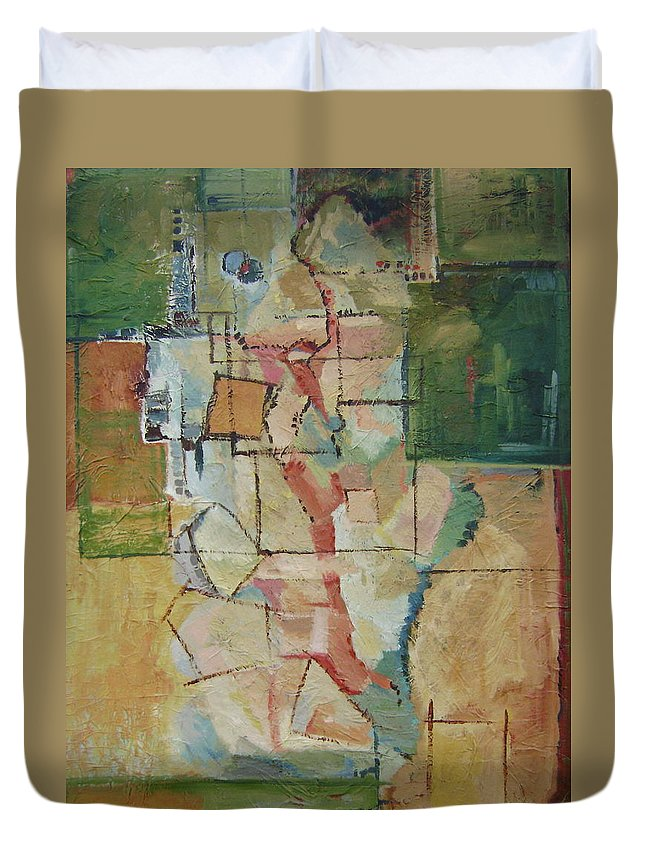 Abstract Art Duvet Cover featuring the painting Aerial by Ginger Concepcion