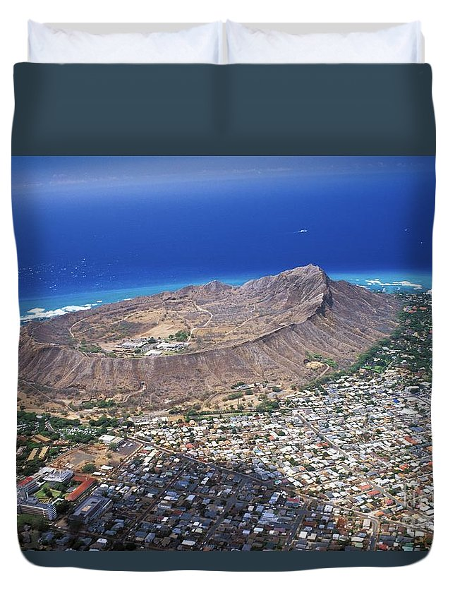 Above Duvet Cover featuring the photograph Aerial Of Diamond Head by Peter French - Printscapes