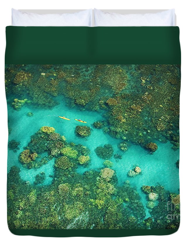 Above Duvet Cover featuring the photograph Aerial Of Two Kayakers by Ron Dahlquist - Printscapes