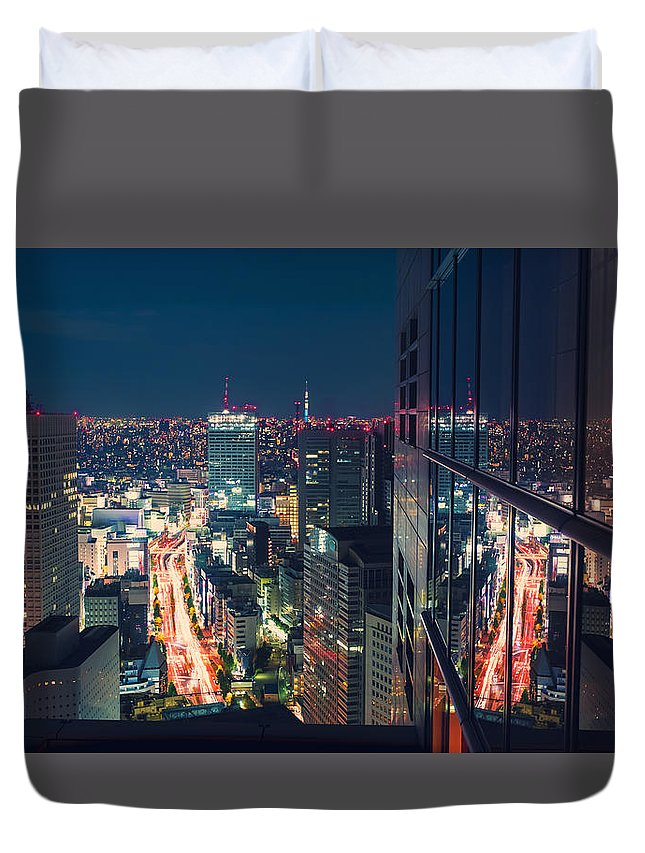 Japan Duvet Cover featuring the photograph Aerial View Cityscape At Night In Tokyo Japan From A Skyscraper by Michiko Tierney