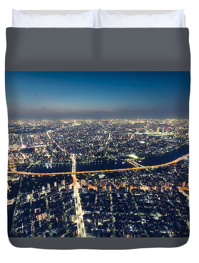 Aerial Duvet Cover featuring the photograph Aerial View Cityscape At Night by Michiko Tierney