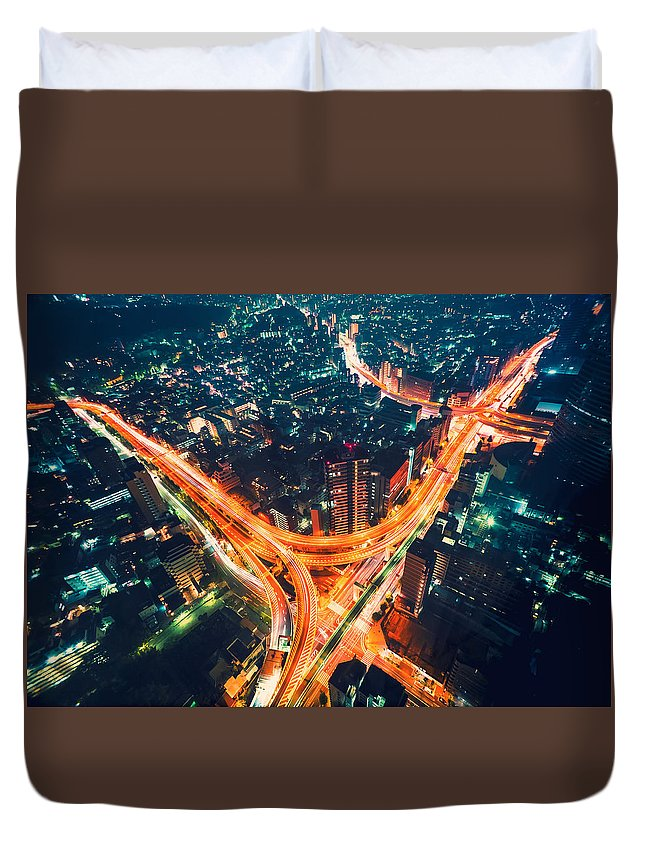 Japan Duvet Cover featuring the photograph Aerial View Of A Massive Highway Intersection In Tokyo by Michiko Tierney