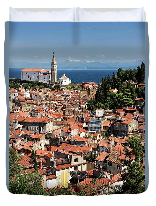 Piran Duvet Cover featuring the photograph Aerial View Of Piran Slovenia With St George's Cathedral On The by Reimar Gaertner
