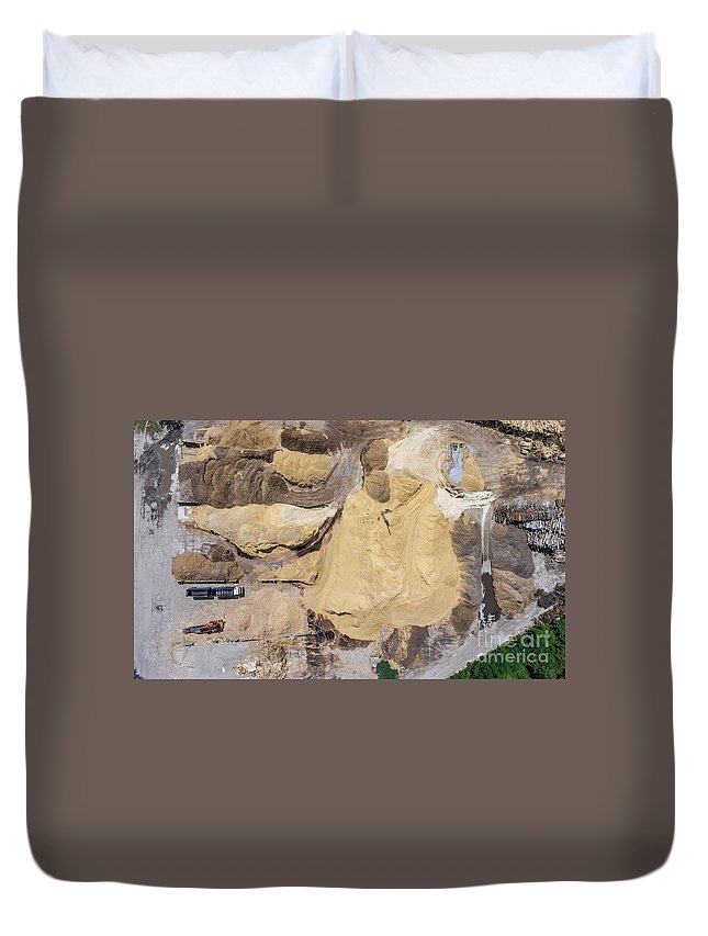 Above Duvet Cover featuring the photograph Aerial View Over The Sandpit. Industrial Place In Poland. by Mariusz Prusaczyk