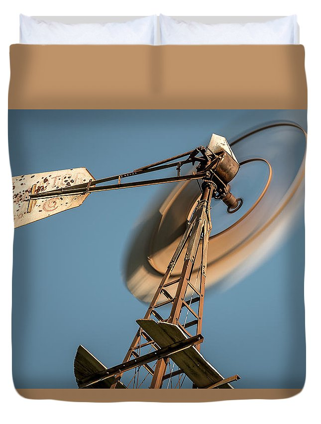 Aermotor Duvet Cover featuring the photograph Aermotor Windmill by Jeff Bartelt