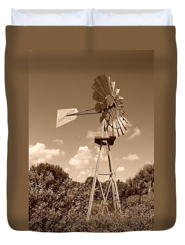 Sepia Duvet Cover featuring the photograph Aermotor Windmill by Rob Hans