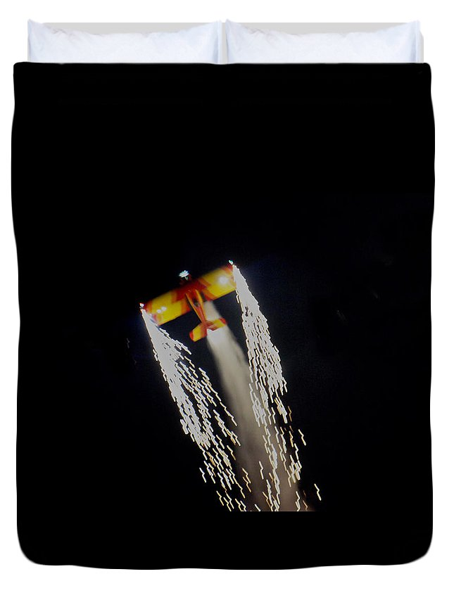 Trail Duvet Cover featuring the photograph Aerobatics With Firework by Art Spectrum