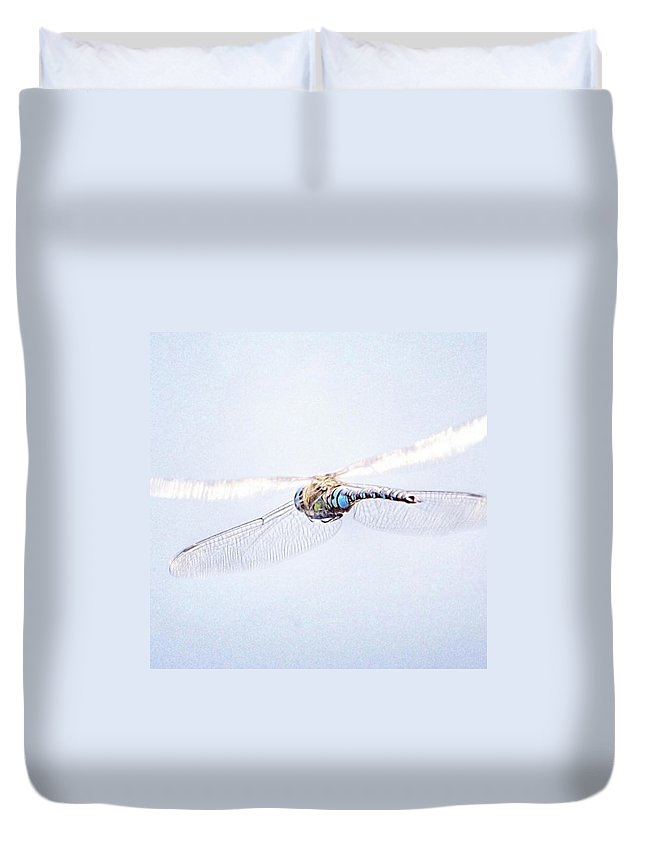Dragonfly Duvet Cover featuring the photograph Aeshna Juncea - Common Hawker In by John Edwards