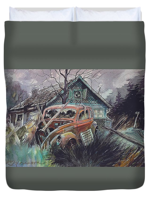 Ford Duvet Cover featuring the painting Affordable by Ron Morrison
