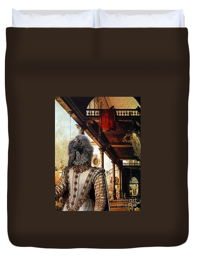 Afghan Hound Canvas Duvet Cover featuring the painting Afghan Hound-capriccio Of Colonade And The Courtyard Of A Palace Canvas Fine Art Print by Sandra Sij