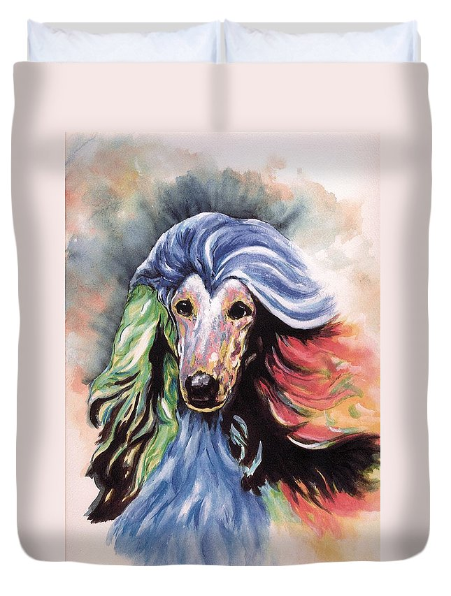 Afghan Hound Duvet Cover featuring the painting Afghan Storm by Kathleen Sepulveda