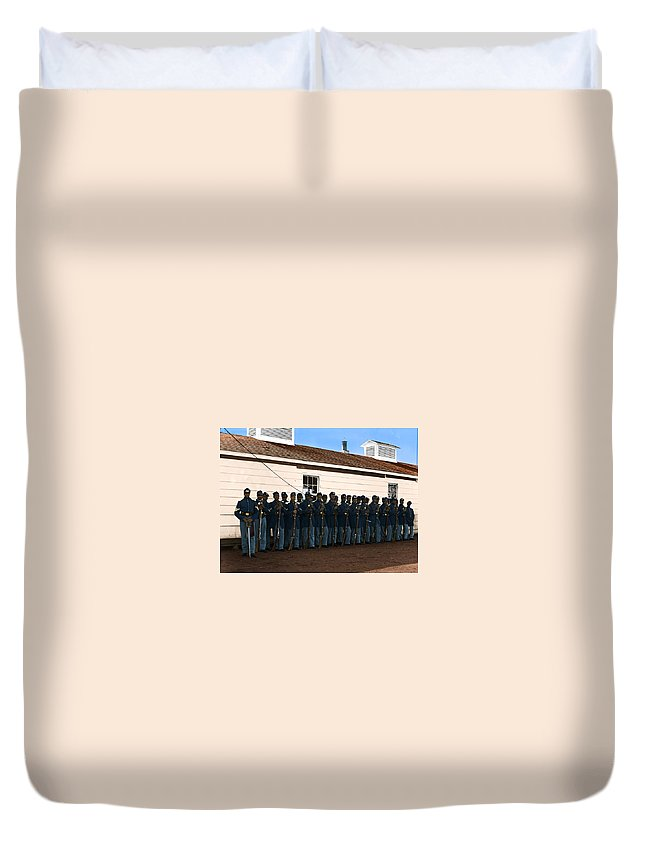 Civil War Duvet Cover featuring the photograph African American Troops In Us Civil War - 1965 by Janelle Berger