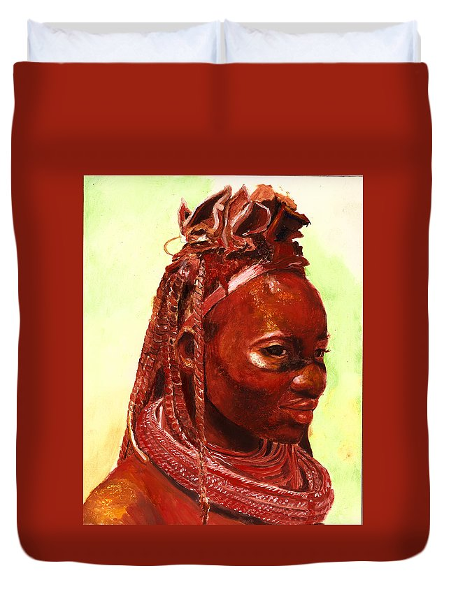 People Portrait Duvet Cover featuring the painting African Beauty by Enzie Shahmiri